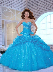 Popular Sweetheart Beading and Pick-ups Blue Dresses for Quinceanera
