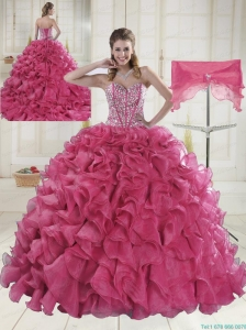 2015 Hot Sale Red Quinceanera Gowns with Beading
