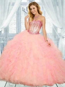 2015 Newest Sweetheart Baby Pink Quinceanera Dress with Ruffles with Beading