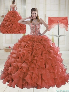 2015 Sweetheart Brush Train Red Quinceanera Dresses