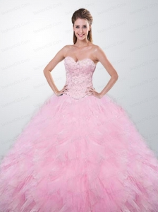 Appliques Sweetheart Tulle Quinceanera Gown in Baby Pink