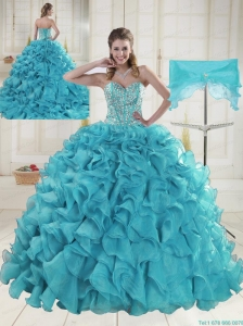 Fashionable Sweetheart 2015 Quinceanera Dresses in Aqua Blue