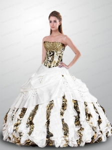 Luxirious Strapless Zebra White Quinceanera Gown with Beading