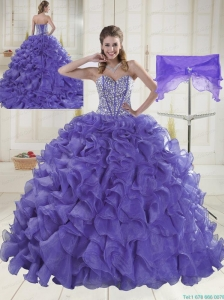 Sweet Sweetheart Brush Train Lavender Quinceanera Dresses in Sweet 16