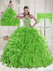 Sweet Sweetheart Spring Green Quinceanera Dresses with Brush Train