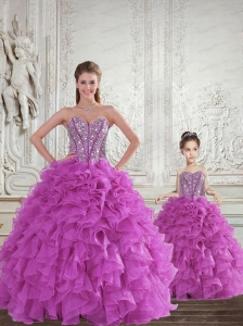 New Arrival Fuchsia Princesita Dress with Beading and Ruffles for 2015