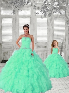 2015 Fashionable Apple Green Princesita Dress with Ruffles and Beading