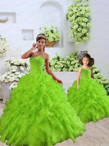 2015 Luxurious Beading and Ruffles Green Princesita Dress