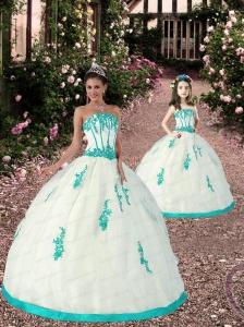 2015 Spring Satin and Organza Appliques Princesita Dress in White and Aqua Blue