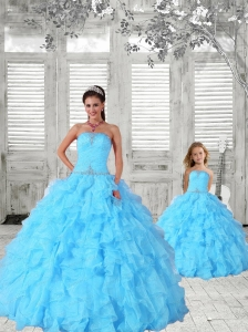 Luxurious Beading and Ruching Princesita Dress in Aqua Blue for 2015