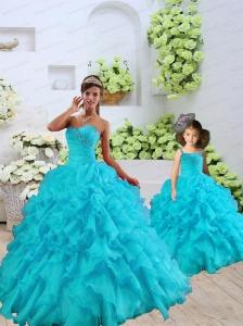 Most Popular Beading and Ruffles Aqua Blue Princesita Dress for 2015