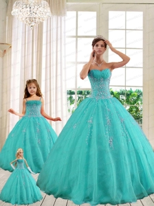 2014 LuxuriousTurquoise Princesita With Quinceanera Dresses with Beading