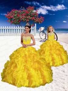 2015 Most Popular Appliques and Beading Yellow Princesita Dress