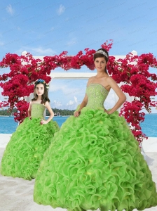 2015 Unique Green Princesita Dress with Beading and Ruffles