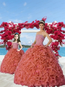 Classcial Beading and Ruffles Rust Red Princesita Dress