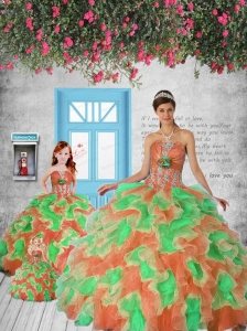 Exclusive Orange and Green Princesita Dress with Appliques and Ruffles for 2015