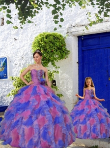 Fashionable Multi-color Princesita Dress with Beading and Ruffles