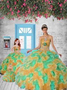Modest Appliques and Ruffles Princesita Dress in Multi-color