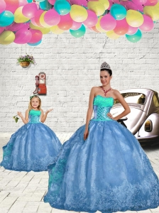 New Style Beading and Embroidery Princesita Dress in Aqua Blue for 2015 Spring
