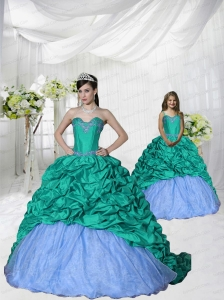 2015 Fashionable Appliques Brush Train Princesita Dress in Turquoise