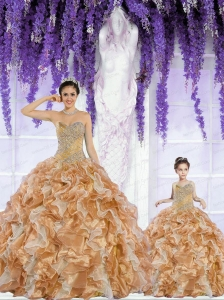 Most Popular Organza Beading and Ruffles Princesita Dress in Champagne
