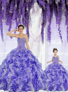 New Arrival Organza Purple Princesita Dress with Beading and Ruffles