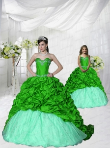 Trendy Appliques Brush Train Spring Green Princesita Dress for 2015 Spring
