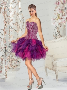 2015 Fashionable Multi-color Prom Dresses with Beading and Ruffles