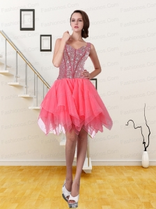 2015 New Style Watermelon Red A Line Straps Prom Dress with Sequins