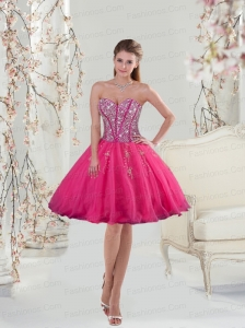 2015 Sweetheart Rose Pink Sequins and Appliques Prom Dresses