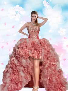 2015 Top Seller Beading and Ruffles Pink Prom Dresses For Quinceanera Party