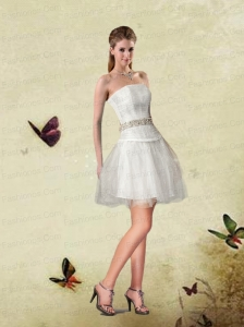 A-line Strapless White Prom Dresses With Beading and Ruching