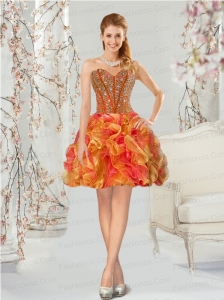 Luxurious Multi-color Prom Dresses with Beading and Ruffles for 2015