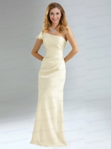 Popular Column Ruching Prom Dresses with One Shoulder