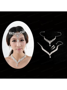 Princess Rhinestone Jewelry Set Including Necklace Tiara And Earrings