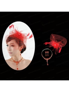 Red Crystal Wedding Jewelry Set With Necklace and Feather Headpiece