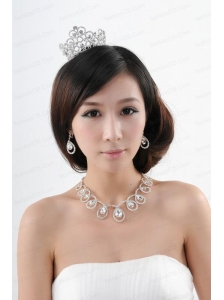 Romantic Rhinestone Jewelry Set Including Tiara Necklace And Earrings
