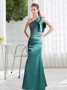 Ruching One Shoulder 2015 Prom Dresses in Turquoise
