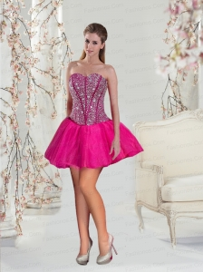 2015 Luxurious Beading Hot Pink Prom Dresses