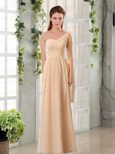 2015 Empire Chiffon Prom Dresses with Ruching