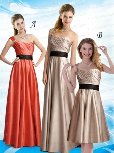 2015 Ruching One Shoulder Empire Prom Dress with Belt
