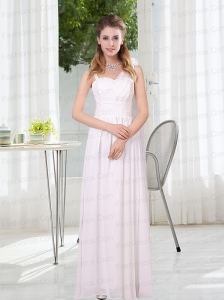 2015 White Empire Ruching Prom Dresses with Asymmetrical