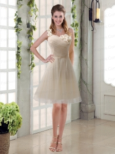 Champagne Ruched Handmade Flowers One Shoulder 2015 Prom Dresses