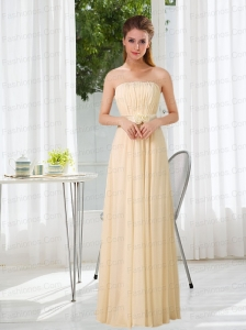 Empire Strapless Ruching and Belt Prom Dress with Floor Length