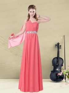 One Shoulder Beaded Long Prom Dress with Ruches