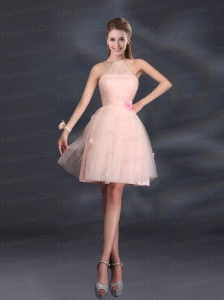 Tulle Appliques Mini Length 2015 Prom Dresses with Halter