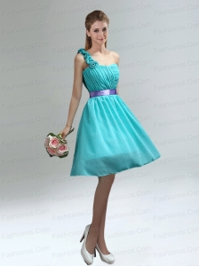 Unique One Shoulder Ruches Teal Prom Dresses with Belt