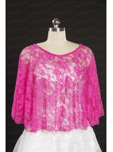 2014 Hot Pink Beading Lace Wraps for Wedding Party