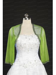 2014 Spring Green Beading Wraps with Long Sleeves