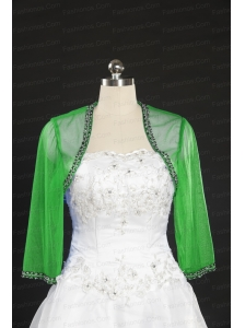 2014 Spring Long Sleeves Green Wraps with Beading